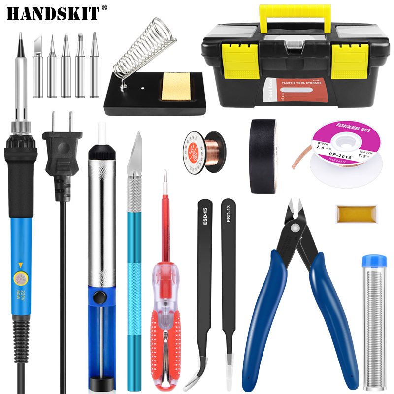 Handskit Soldering iron220V 60W Adjustable Temperature Electric Soldering Iron Kit+5pcs Tips Portable Welding Repair Tool Solder цена