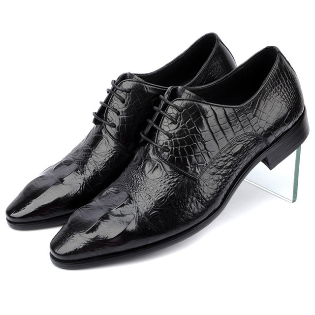 314de75a8d805 High Classy Black Dark Brown Cowhide Leather Crocodile Pattern Men Dress  Shoes Lace Up Wedding Shoes For Men Chaussure Homme