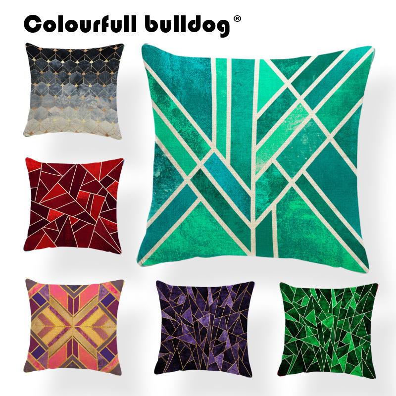 Geometry Shattered Cushion Covers Xmas Christmas Pillow Cushions Modern Art Deco Throw Pillow Case Dark 45x45Cm Burlap Designer