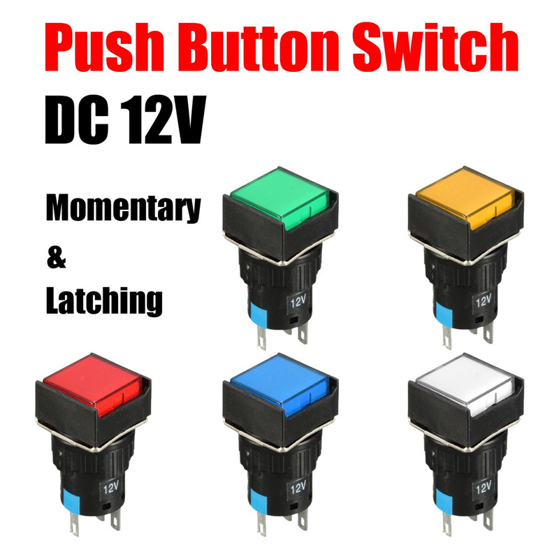 10Pcs DC 12V 16mm Push Button Self-Reset Switch Square LED Light Momentary Switch Best Price self reset 4p4t 5 position 4 direction joystick monolever switch