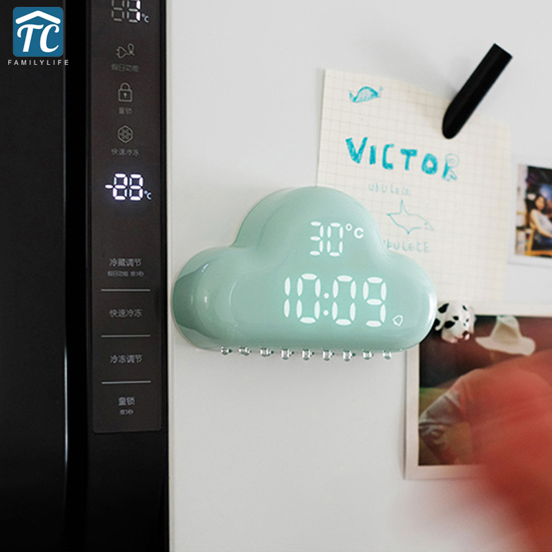 Charged Multi-function LED Glowing Change Digital Alarm Clock Like Cloud 3 Colors LED Table Glowing Thermometer Desktop Clocks