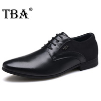 TBA 5830# New Metal Logo Design Luxury Brand Men's Business Oxfords Genuine Leather Lace Up Wedding&Party Dress Walking Shoes