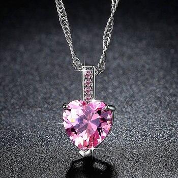 Collar con colgante de corazón de cristal de Color oro blanco de Beiver para mujer, collares de gran calidad, regalos de San Valentín