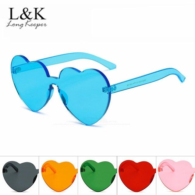 Long Keeper amor corazón sin montura gafas De Sol De colores las mujeres  gafas De Sol a5d4ab0630