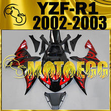 Motoegg Injection Molded Fairings Motorcycle ABS plastic For YZF-R1 YZF R1 2002 2003 Red Flames #Y12M12 Red Flames