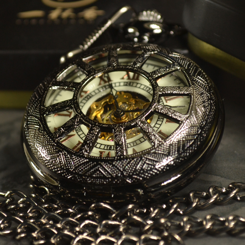 TIEDAN Black Skeleton Automatic Mechanical Pocket Watch Men Antique Luxury Brand Necklace Pocket & Fob Watches Chain Male Clock antique hollow carving horse quartz pocket watch steampunk bronze fob clock for men women gift item with necklace 2017