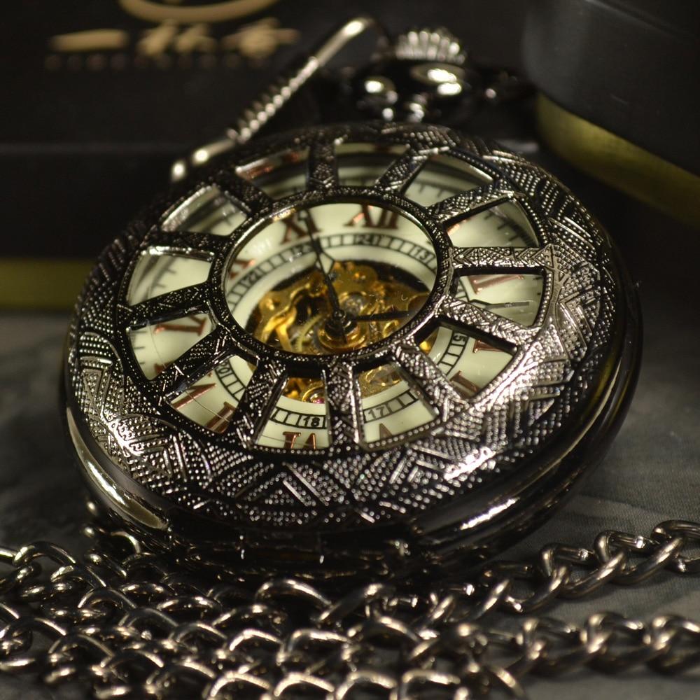 TIEDAN Black Skeleton Automatic Mechanical Pocket Watch Men Antique Luxury Brand Necklace Pocket & Fob Watches Chain Male Clock black steampunk skeleton quartz pocket watch men antique luxury necklace pocket