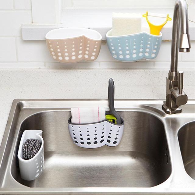 Kitchen Sink Storage Basket Suction Hanging Storage Bag Sponge Cutlery  Holder Basket Sponge Drainer Organizer #