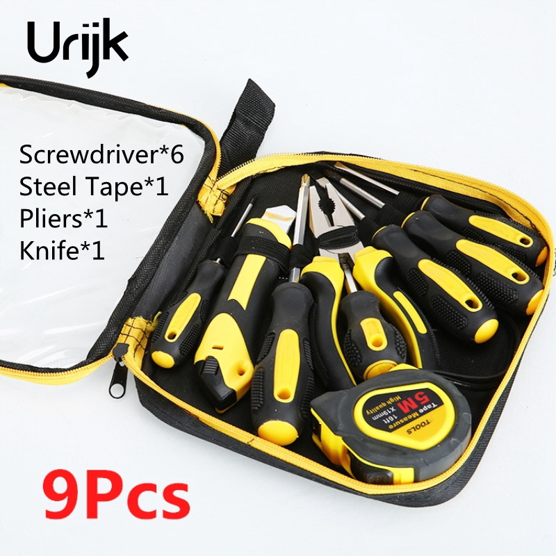 Urijk 9Pcs Household Hand Tool Set Screwdriver Pliers Knife Steel Tape Magnetic Non-slip Rubber Handle CRV Multifunction Repair jumpro mother s day gift 77pc ladies tools pink tool set home tool hammers pliers knife screwdrivers wrenches tapes hand tool