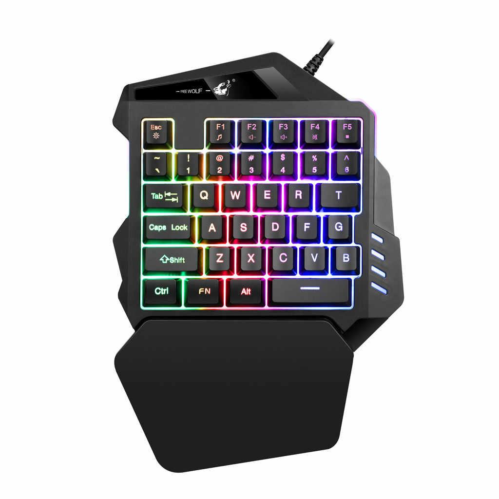 K13 Проводная игровая клавиатура Мини K 35 ключей Светодиодная подсветка USB Эргономичный одной рукой клавиатуры игровая клавиатура для LOL/CF 11,41 # M06