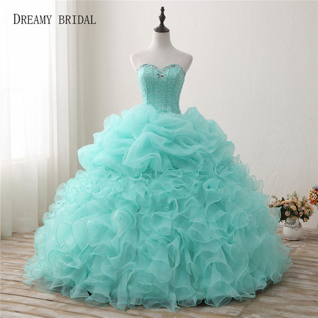 Dreamy Braut Mint Green Quinceanera Kleider Ballkleid Schatz ...
