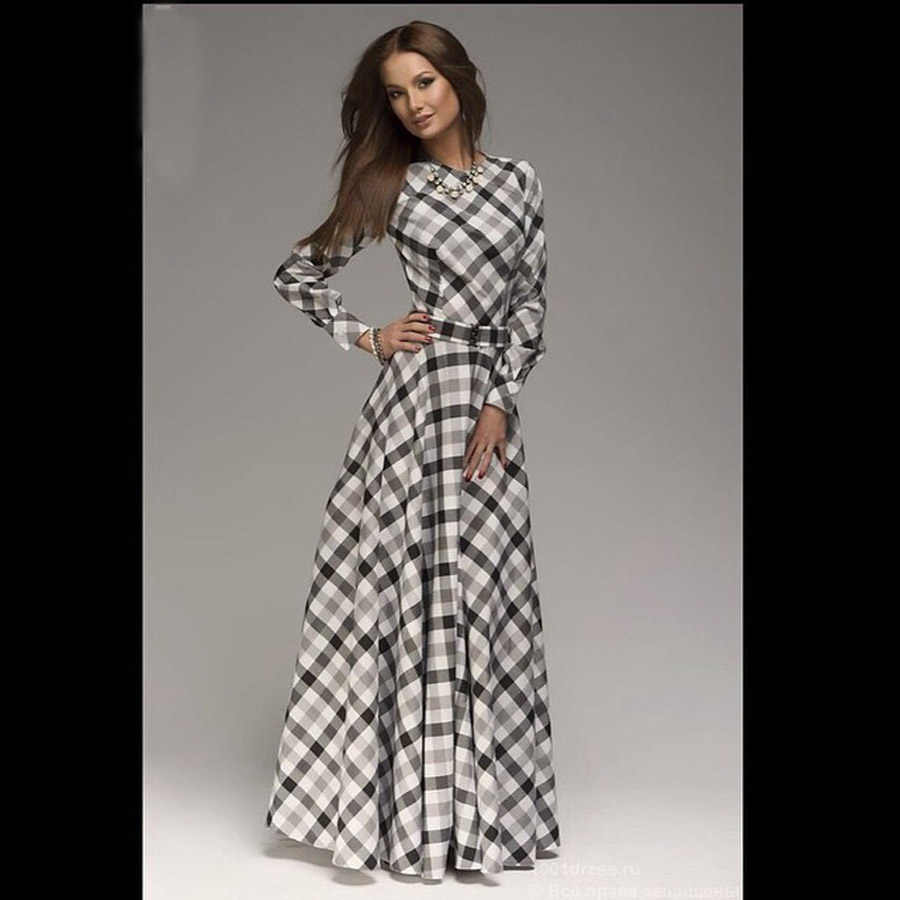 4720cd3ce31 New Arrival winter women maxi dresses casual full sleeve o-neck print plaid  elegant party