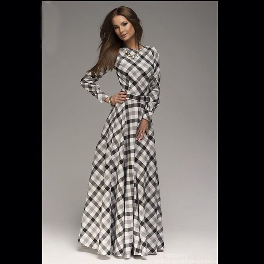 New Arrival winter women maxi dresses casual full sleeve o-neck print plaid elegant party evening maxi long dress plus size 2016 girl