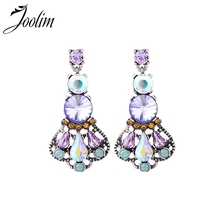 JOOLIM Mix Items Luxury Pink Green Crystal Chandelier Earring Fashion Wholesale Drop Shipping Supplier