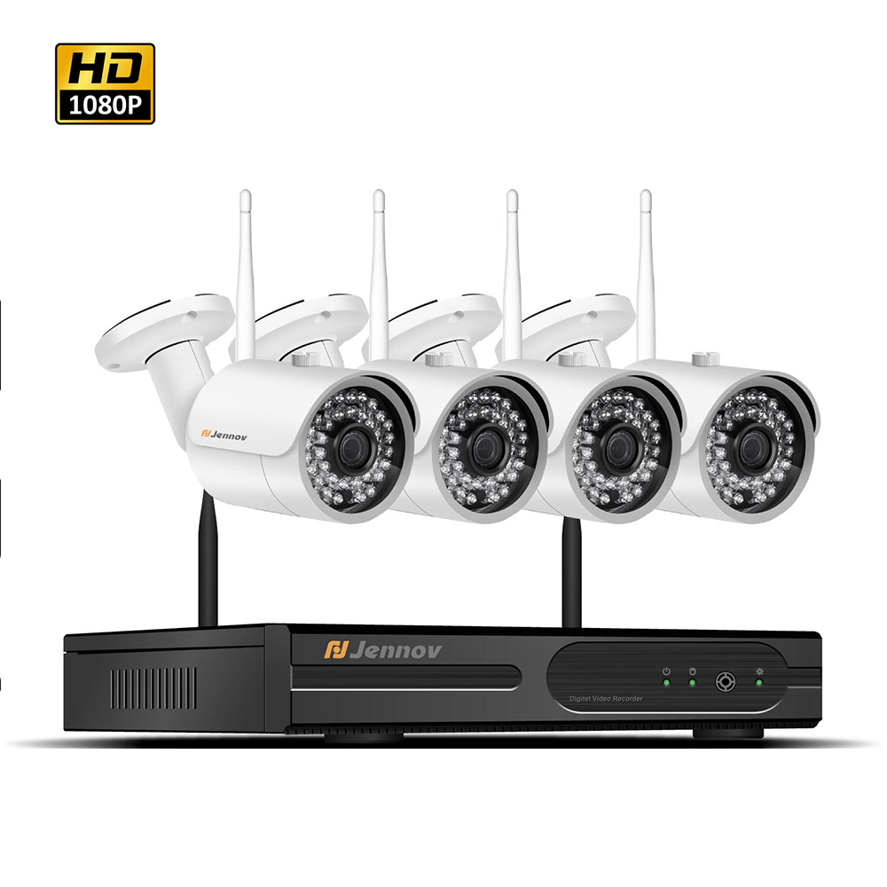 4CH CCTV Kit 1080P Wireless Outdoor Surveillance Camera System Home Security 2MP IP CCTV Camera With NVR Wifi APP Remote View 8ch cctv kit 960p home wireless cctv security camera system with nvr hd wifi video outdoor surveillance kit app remote view