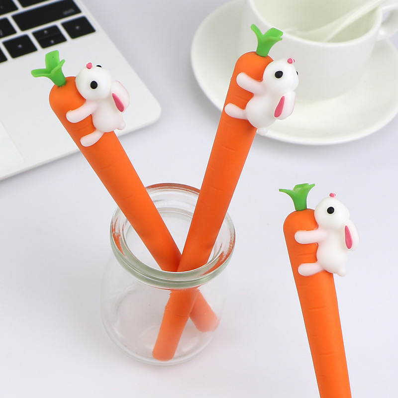 cigarette shaped ball pen black ink JOUDOO 6pcs/lot Cute Rabbit Carrot Shaped Gel Pen 0.5mm Black Ink Writing Stationery Neuter Pens Office School Supplies