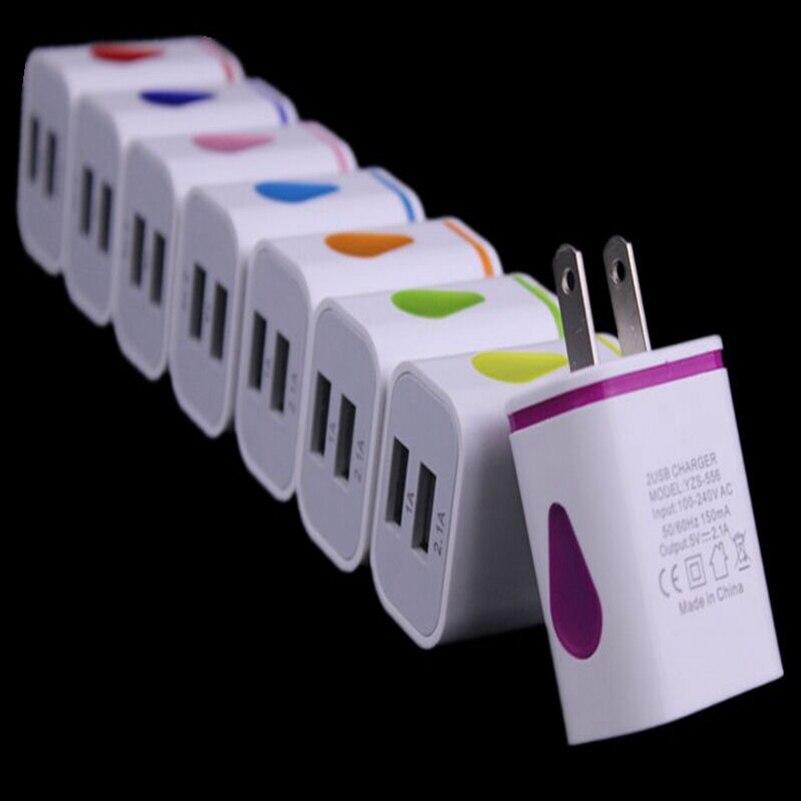 100 шт./лот свет 5 В 2.1a 2 Dual USB портов нас дома зарядное устройство AC адаптер 2.1a + 1A для iPhone 5 5S SE 6 6S для Samsung HTC