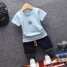 2017 Cotton Baby Boy Clothes Summer Children's Clothing Set With Letter OK printed Short O-Neck Kids Clothes Boys Shorts Casual