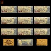 Lot de 10 pièces de billets en or de coupe du monde en russie, 2018 roubles, réplique du papier-monnaie en feuille d'or, Collections d'argent pour billet de Football, 100