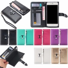 For iPhone6 7 8Plus Detachable Wallet Folio 2 in 1 Leather Cell Phone Wallet Cover Zipper Case for iPhone X XR XS XS MAX Luxury