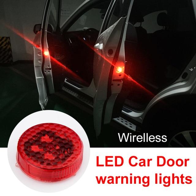 OKEEN 2pcs led door warning light open signal warning flashing light wireless Light sensor Anti Collision Red logo projection