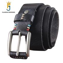 FAJARINA Quality First Head Leather Pure Cow Skin Belt Leisure Belts Tide Pin buckle Retro Clasp