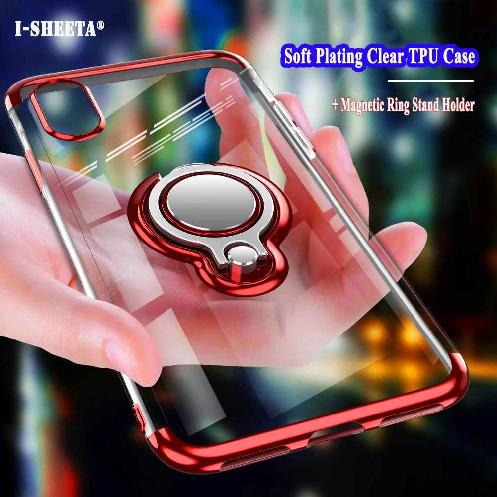 Shockproof Hybrid Case For Apple iPhone X XS Max XR Clear Slim Soft TPU Silicone 360 Metal Magnetic Finger Ring Holder Cover