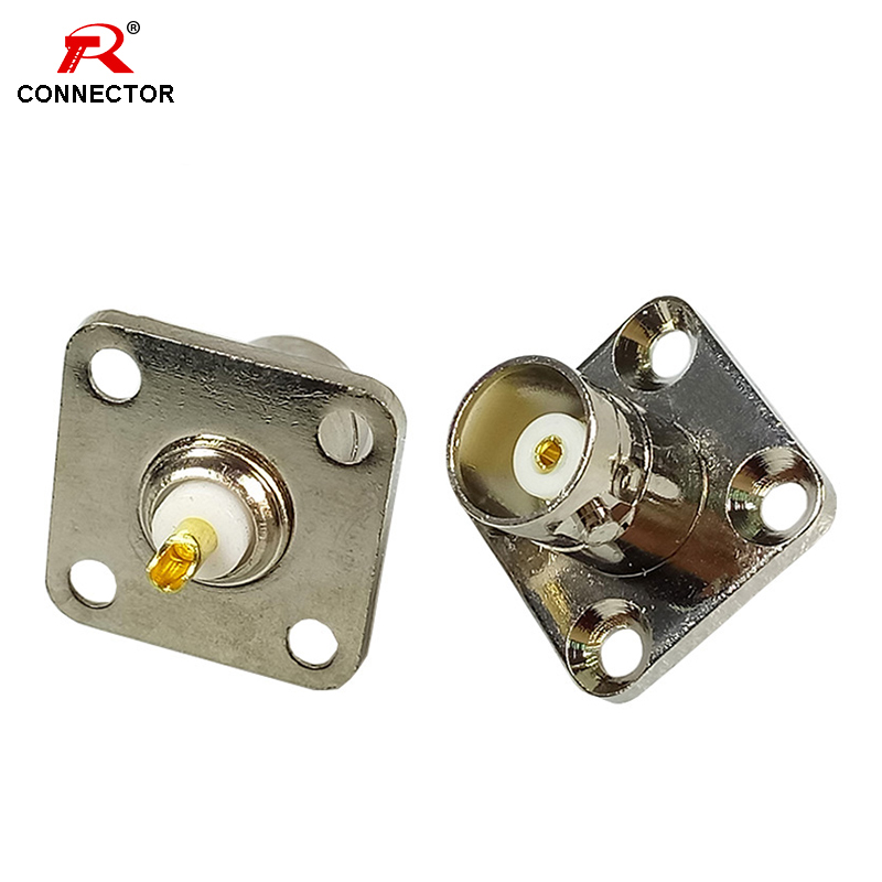 1pc BNC Jack 4 Hole Flange Panel Chassis Mount Solder Plug BNC Female Panel Mount Connectors RF Coaxial Copper CONNECTOR
