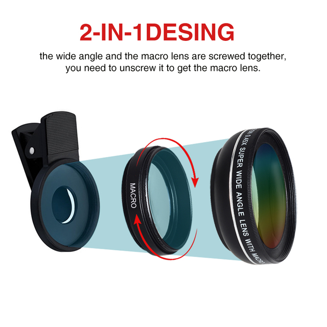 New HD 37MM 0.45x Super Wide Angle Lens with 12.5x Super Macro Lens for iPhone 6 Plus 5S 4S Samsung S6 S5 Note 4 Camera lens Kit 2
