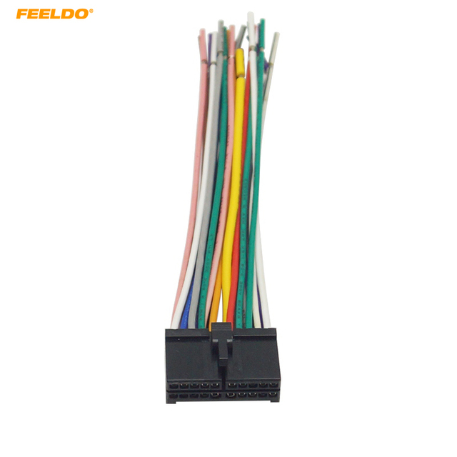feeldo 20pin universal aftermarket car head unit dvd stereo radio wiring  harness cable plug#2326