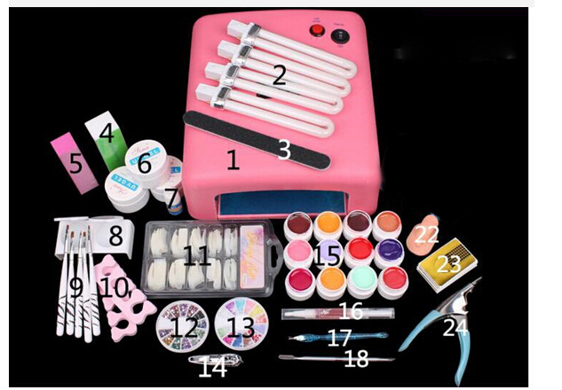 New Pro Nail Art Tools polish Set UV Kit nail gel nail tools 36W Timer Dryer Lamp Decorations Kit manicure acrylic nail kit UV