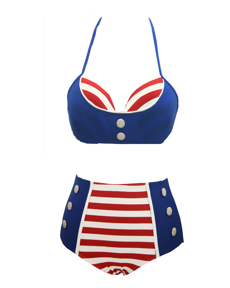 a64c32ad8f8f0 Sexy White Red Striped High Waist Swimsuit Bodycon Bandage Bikini Navy  Women Swimwear Sailor Push Up