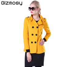 Winter Women Wool Coat 2016 Double-Breasted Button Lapel Pocket Multicolor Plus Size Long Sleeve Ladies Woolen Jackets BN027
