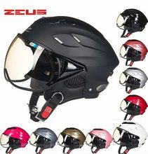 2018 Summer Fashion ZEUS Half Face Motorcycle Helmet ABS Half-covered Seasons Retro Electric Bike Unisex Helmets Goggles Anti-UV(China)