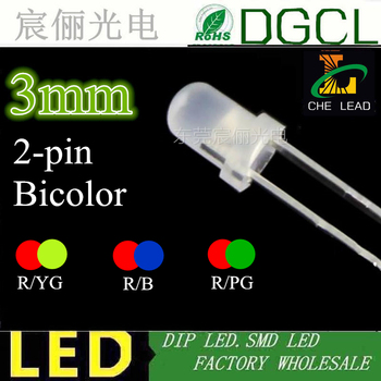 1000 sztuk darmowa wysyłka 2-PIN bicolor DIP LED rozproszone czerwony i niebieski czerwony i zielony niepolarnych 3mm dioda LED DIP (CE i rosz) tanie i dobre opinie Żarówki led ROHS 2700 k Rury 30 ° Smd3528 binfu 60000 Epistar Salon Up to 19V 2 54 ROUND 0 003 3MM LED 20MA 2-3V