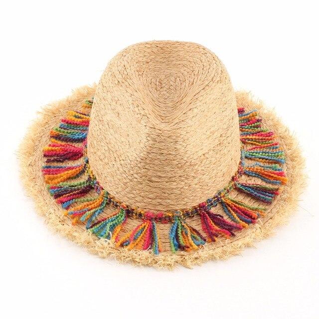 Rafia naturale Cappelli di Paglia Per Le Donne di Stile Hawaii Estate Nappa  Sun Beach Hat c5244c73c543