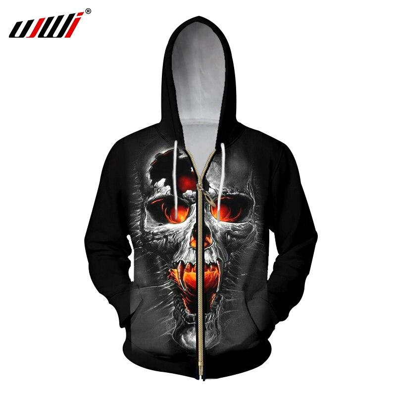 UJWI 3D Zipper Hoodies Men Broken Skull Printed Sweatshirt Hoody Male Hooded Zip Outwear Sweats Oversize Long Drawstring Jackets