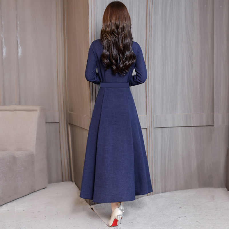 M 3XL New Women 39 s Cotton Dress Spring Autumn 2019 Elegant All match Solid color Long sleeve Lacing Loose Dress Slim Long Dresses in Dresses from Women 39 s Clothing