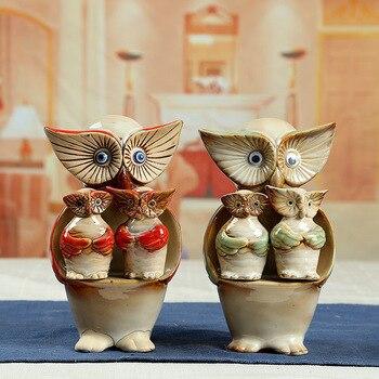 animal owl set ceramic home decor crafts figurines garden courtyard rockery porcelain decorations accessories birthday gift
