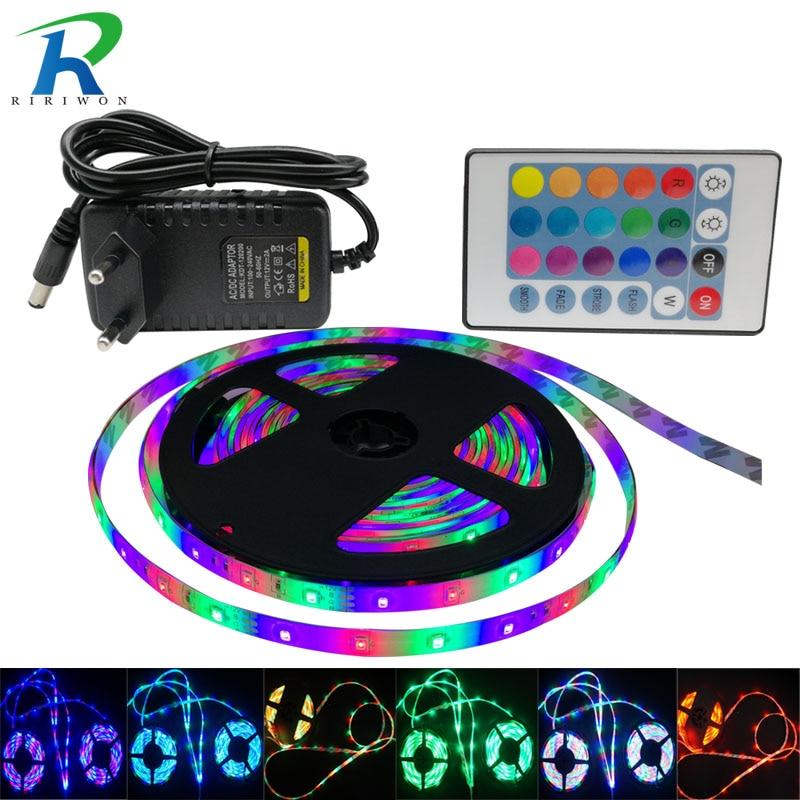 RGB LED Strip Light SMD5050 2835 5m 10m 15M No Waterproof leds tape diode ribbon LED Lamp Controller AC 220V DC 12V adapter set