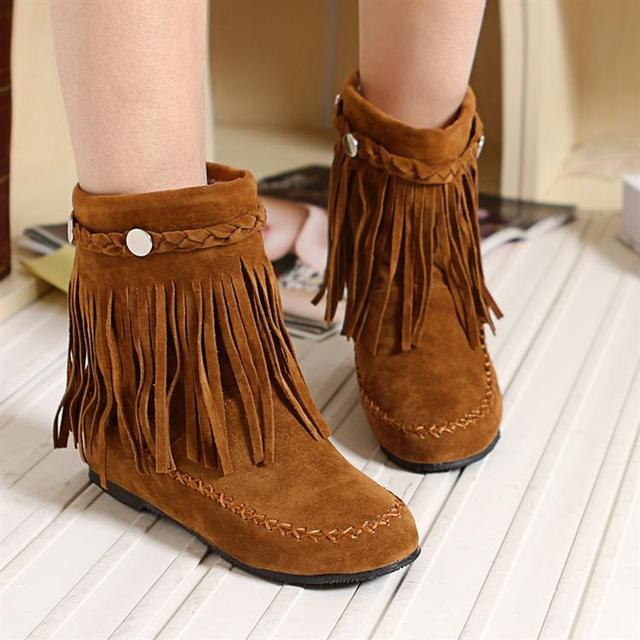 Autumn elevator boots tassel boots winter young girl doll shoes flat wedges boots