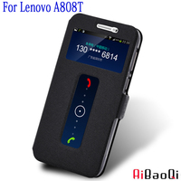 AIBAOQI Luxury Brand For Lenovo A808T A806 A808T-i Case Cover Flip Leather With Smart View Window Protection Shell phone Holster