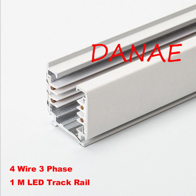 LED Track Rail 1M 3 Phase Circuit 4 Wire Aluminum Track Light Rail ...
