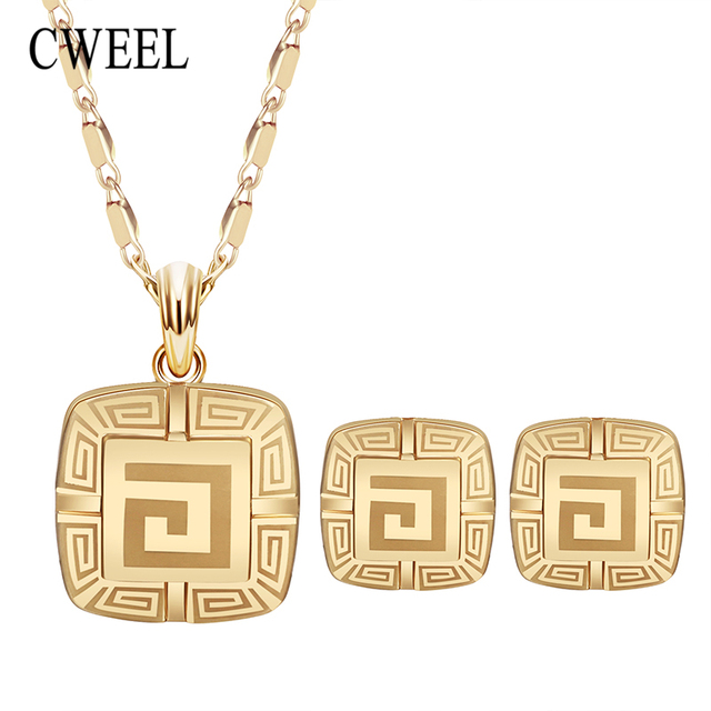Cweel Trendy Jewellery Gold Color Bridal Wedding Jewelry Sets For Women Pendents Necklace Geometric