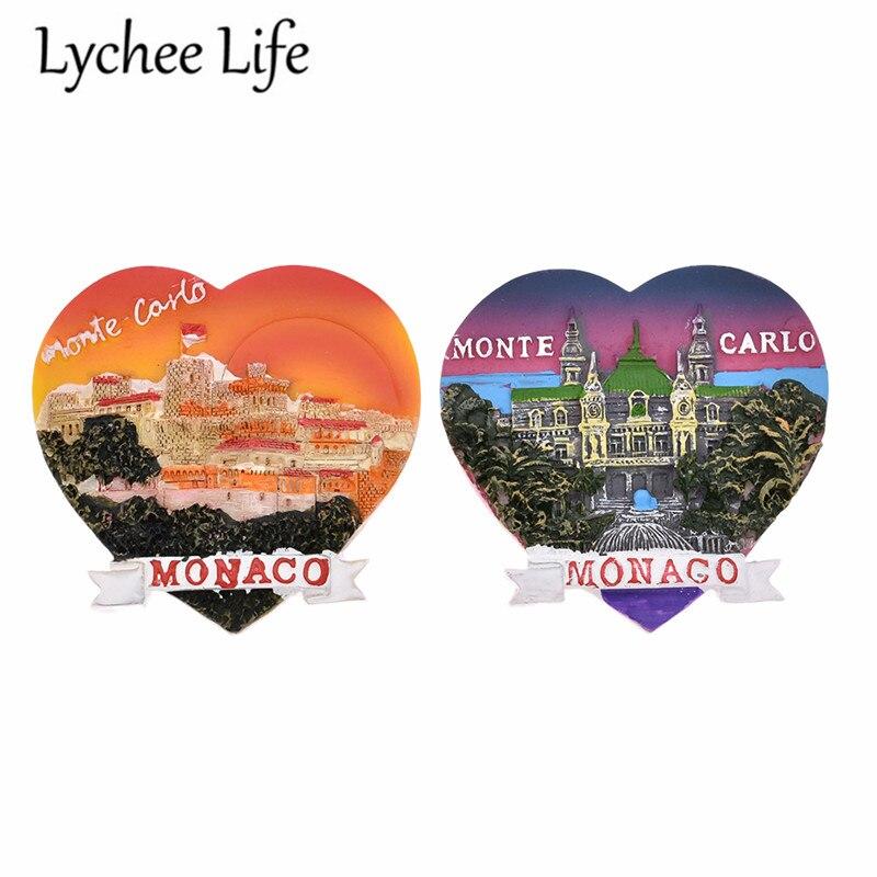 Monaco Scenic Fridge Sticker Famous View Heart Shape Fridge Magnet Souvenir Gift Modern Home Kitchen Decoration