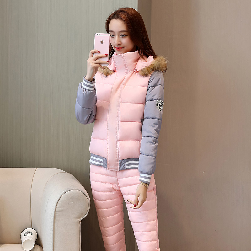 Winter 2019 New Down Cotton Suit Women Real Fur Collar Hooded Thick Warm Cotton Jacket Coat + Pant Two Piece Sets Fashion Female