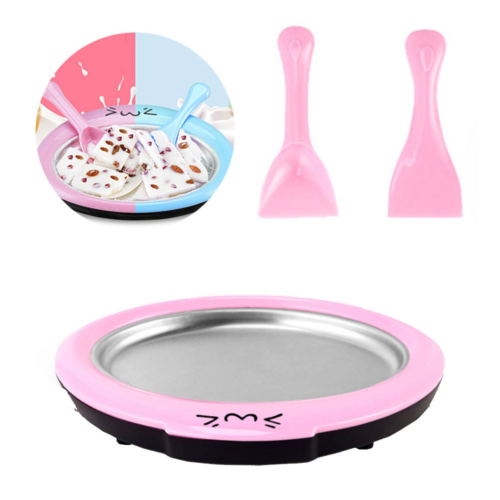 Mini Ice Cream Maker Cartoon Fried Ice Machine Fried Yogurt Machine Pan Home Stir Yogurt Machine With 2pcs Fried Ice Shovel
