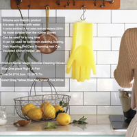 A Pair Magic Silicone Scrubber Rubber Cleaning Gloves Dusting|Dish Washing|Pet Care Grooming Hair Car|Insulated Kitchen Helper 1