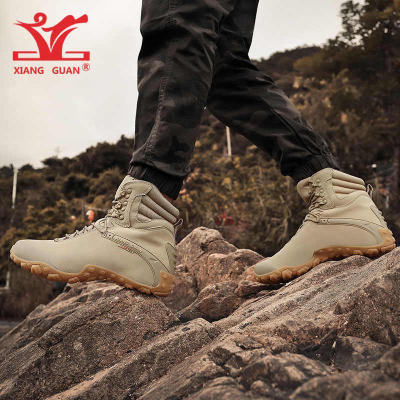 de0121bd274 ... Women Hiking Shoes Men Cow Leather High Top Trekking Boots Sand Waterproof  Sport Climbing Mountain Shoe ...