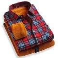 2016 Chegam Novas Adicionar Lã Quente dos homens de Moda Casual Xadrez camisas 3XL Camisa Masculina para o Inverno Manga Comprida Magro Chemise Homme